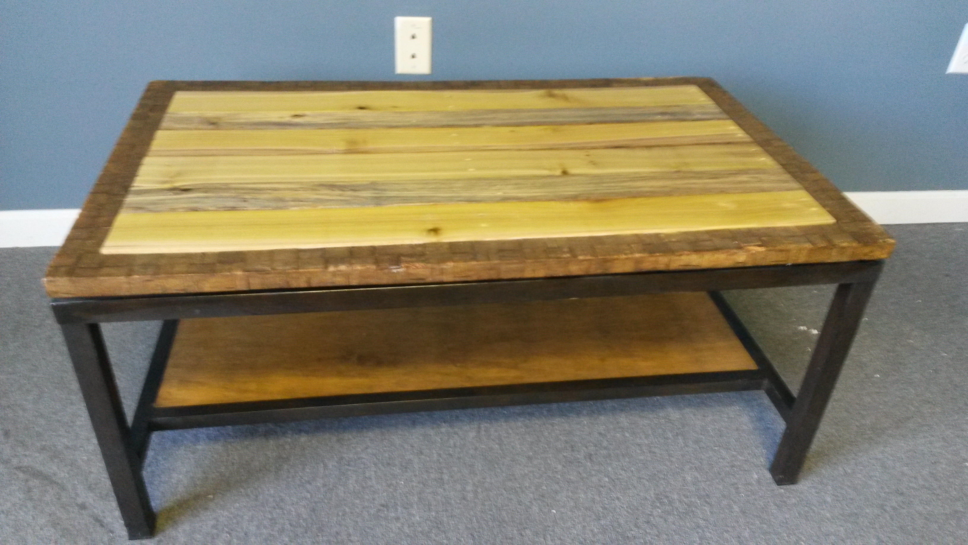 Coffee Table Repurposed With Pallet Wood 125 I Found A Nice That Was Made Black Steel Metal Legs The Top And Bottom Shelf Were Smoked